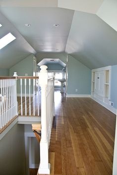 Stairs to attic may look like this, but want something other than spindle railings.