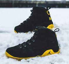 air jordan brand 9 ix boot nrg black yellow maize gold university of  michigan wolverines football player exclusive pe custom snow michael 9f8d429ce