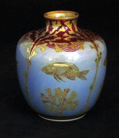 Pilkingtons Lustre Vase decorated with Fish by Pilkington Royal Lancastrian