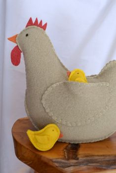 Wool Chicken and Chick Softie Set AllNatural by SongandSeason, $39.00