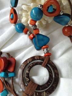 Double Coconut , Organic Tagua Nut, Caribbean Turquoise Blue and Deep Coral Tagua, One of a Kind, Eco Friendly, Eco Sexy, Sustainable by TropicaAccessories on Etsy