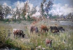Cows at the railway dam Eric Eatwell Country Scenes, Cows, Eating Well, Online Art Gallery, Artwork, Painting, Work Of Art, Painting Art, Paint