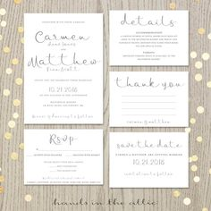 Printable wedding invitation suite script invitation kit modern calligraphy rsvp thank you save the date DIGITAL files JPG by HandsInTheAttic