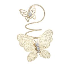 Fashion Gold Or Silver Alloy Two ButterflY Shape Loopy Rings