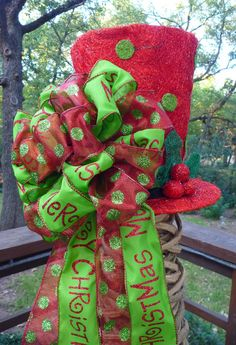 LIGHTED TREE TOPPER Hat with a Bow and Streamers by decoglitz