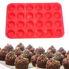 Titini Silicone Muffin Pan Cake Molds Cupcake Baking Cups Bakeware Pops Tins Tray Non-Stick Sheet Easy Clean, 24 cup ** Details can be found by clicking on the image. (This is an affiliate link) Silicone Cupcake Molds, Silicone Baking Mat, Baking Cups, Baking Dishes, Baking Utensils, Baking Cupcakes, Baking Tools, Mini Cakes, No Bake Cake