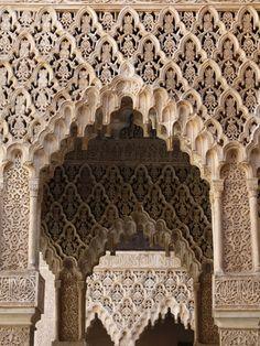 Palacio De Los Leones, Nasrid Palaces, Alhambra, UNESCO World Heritage Site, Granada, Andalucia, Sp Lámina fotográfica
