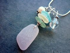 Purple Sea Glass Necklace Sterling Beach by TheMysticMermaid