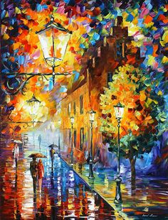 Lights In The Night Print By Leonid Afremov
