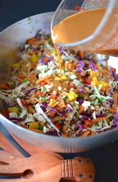 Rainbow Thai Farro Salad - Crunchy colorful veggies and chewy, nutty farro in a creamy Thai peanut dressing. A perfect vegetarian lunch or side dish! ~sweetpeasandabcs.com