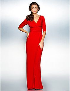 TS Couture Sheath/Column Misses / Pear / Inverted Triangle / Hourglass / Apple / Petite / Plus Sizes Mother of the Bride Dress - RubySweep/Brush