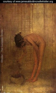 """artist-whistler: """" Nude Girl with a Bowl via James McNeill Whistler Size: cm Medium: oil, canvas"""" James Abbott Mcneill Whistler, American Impressionism, Impressionism Art, Canadian Art, Art For Art Sake, Arts And Crafts Movement, Figure Painting, American Artists, Nude"""