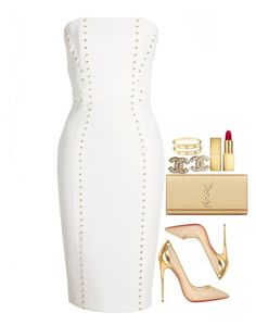 Untitled #261 by cutefashiion on Polyvore featuring polyvore fashion style Versace Christian Louboutin Yves Saint Laurent Chanel AERIN clothing