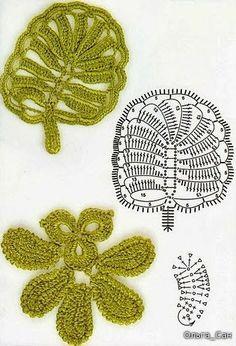 Irish crochet. Flowers, leaves etc.