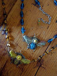 Honey Bee Necklace made from a Vintage Tin by FernStreetDesigns, 32.00