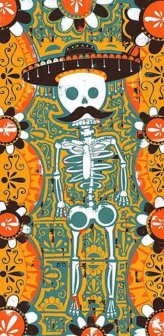 Beautiful colors on this print of a skeleton with mustache and sombrero