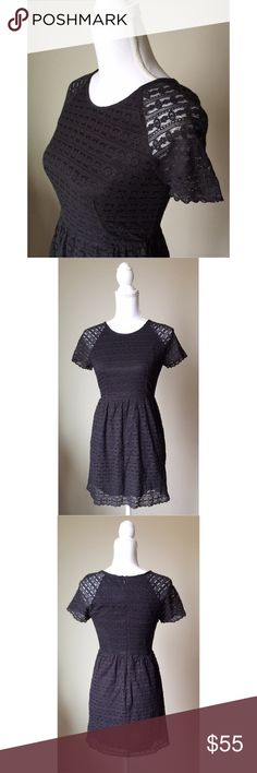 Free People Lace Dress Beautiful Black A-Line Dress by Free People - Flattering & feminine with an eyelet pattern throughout - Pair with heels for an evening out or with flats for a casual autumn look  Free People Dresses Mini