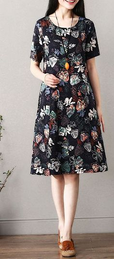 Women loose fit dress pocket retro flower tunic short sleeve summer casual chic #Unbranded #dress #Casual