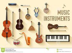Concepto Plano Del Fondo De Los Instrumentos De Música Vector Ilustración del Vector - Imagen: 53188163