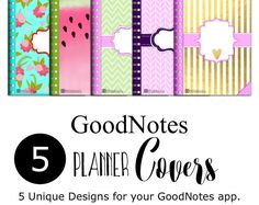 Digital Planner Covers for iPad GoodNotes 5 by JennyGollanStudio Planner Pages, Printable Planner, Planner Covers, Planner Stickers, Free Printables, Digital Journal, Good Notes, Etsy App, Journal Pages