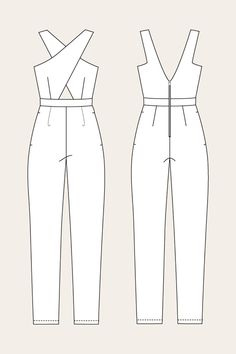 The Ailakki Cross Front Jumpsuit sewing pattern by Named Clothing is a sleeveless jumpsuit with a cross-over front straps.