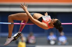 Germany's Marie-Laurence Jungfleisch competes in the Women's High Jump qualification round during the European Athletics Championships at the Olympic stadium in Amsterdam on July 6, 2016. / AFP / FABRICE COFFRINI