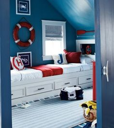 Nautical Decor Kids Room. Would look great with a signal flag valance over the window!