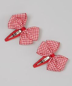 Look at this #zulilyfind! Red Gingham Hair Clips by Spoiled & Sparkly #zulilyfinds