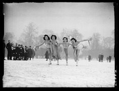 A photograph of ice skaters on a frozen Serpentine Lake in London's Hyde Park, taken in January 1940 by Saidman for the Daily Herald.    The skaters were taking part in a production entitled 'The Ballet of Youth'. January 1940 was the coldest month in Britain since 1895, the River Thames in London froze over for the first time since 1880.
