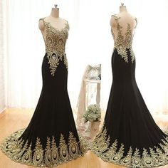 Gold Beaded Scoop Sleeveless Evening Dress Long Party