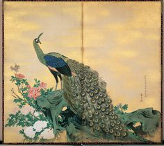 Peacock and Peonies Nagasawa Rosetsu (1754 – 1782) Edo period, dated Tenmei 2 (1782) Two-panel screen, ink and colors on paper, 166.9 x 184.6 cm (Courtesy of the Bowers Museum) This painting depicts the king of the flowers, the peony, and the most regal of birds, the peacock, and to further enhance the majestic luxury of the painting, Resetsu has added gold powder to the canvas.