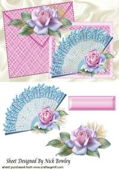 Pretty lace fan with roses on a card with envelope on Craftsuprint - Add To Basket!