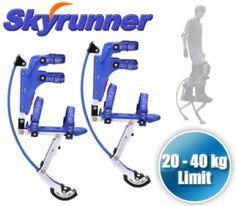 Skyrunner Jumping Stilts Kangaroo Shoes - (20-40kg) Kids Size - Blue Alloy Jumping Stilts, Real Robots, Kangaroo, Lab, Gadgets, Bike, Sports, Outdoor, Baby Bjorn