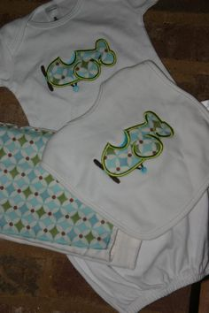 Baby Gown Burp Cloth and Bib set with by SimplySwankyByAshley