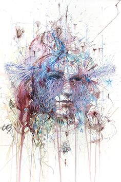 New Portraits from Carne Griffiths Drawn with Coffee, Tea, Ink and Liquor portraits illustration drawing Art And Illustration, Art Et Design, Abstract Portrait, Art Graphique, Oeuvre D'art, Amazing Art, Cool Art, Art Photography, Street Art