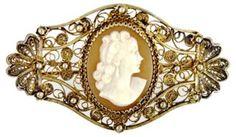Silver Filigree Cameo Brooch