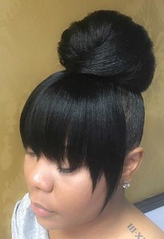 High Bun With Bang Black Hairstyles Hair Styles Hair Ponytail