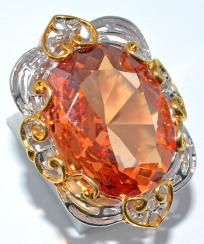 5 Photons with this Glorious ~Statement ring~ Huge  Rose gold topaz.925 SILVER Ring size 7.5