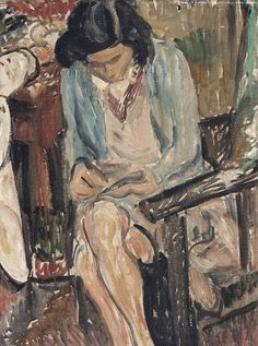 Ronald Ossory Dunlop – Girl sewing; Oil on canvas, 40.6x30.5 cm