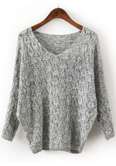 Light Grey Hollow-out Batwing Loose Cotton Blend Sweater