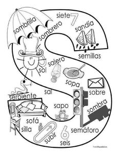 """S"" coloring page ✿ Spanish Learning/ Teaching Spanish / Spanish Language / Spanish vocabulary /… Bilingual Classroom, Bilingual Education, Spanish Classroom, Spanish Language Learning, Teaching Spanish, Speech And Language, Spanish Vocabulary, Dual Language, Preschool Spanish"