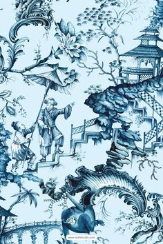 Luxurious hand painted pattern design inspired from vintage chinoiserie wallpapers. Exquisite details in indigo shades, perfect for high end fashion products as well as home Decor, interiors and accessories. #chinoiserie #handpainted #indigoart #pagodaart #asianart #printpatterns #surfacedesign #textilepatterns #drawing #textiledesign #luxurypatterns #navyblueart Textile Patterns, Textile Design, Print Patterns, Chinoiserie Wallpaper, Painting Patterns, Beautiful Patterns, Asian Art, Surface Design, Pattern Design