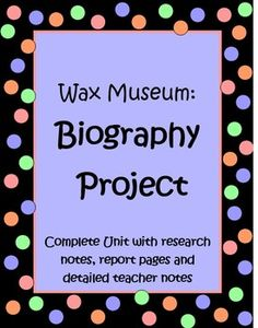 """This 20 page Wax Museum Project will help your students create an amazing biography research report on a famous American. The culminating part of the project is an amazing Wax Museum, where students dress up as the person they have learned about and stand """"still"""", like a Wax Museum, until someone walks up to them and presses the """"button"""" on their backdrop. Then students give a short 3 - 4 sentence speech about that person's life. Great learning experience for kids and good P.R. $"""