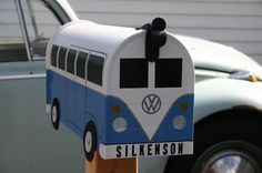 Wildflower Blue Custom Made To Order Volkswagen Bus Mailbox by TheBusBox - Choose Your Color - SplitBusBox.