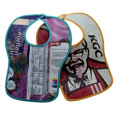 Baby bibs made of fused plastic bags, with some bias tape for softness on the edge. Love this idea. And not just grocery bags but bread bags and other plastics too.