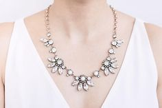 Crystal Flower Cluster Fan Statement Necklace | Wedding Jewelry
