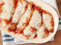 Chicken Parmesan  with mozz Recipe with simple tomato sauce : Giada De Laurentiis : Food Network