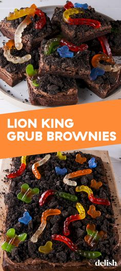 Lion King Grub Brownies Will Make You The King Of The JungleDelish turn into gluten free Disney Desserts, Disney Food, Brownie Recipes, Dessert Recipes, Cake Recipes, Donut Recipes, Sweet Desserts, King Food, Lion King Party