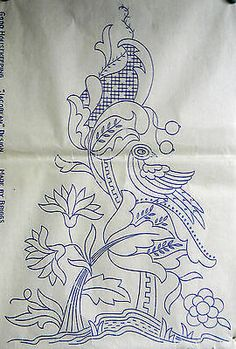 VINTAGE EMBROIDERY TRANSFER - JACOBEAN WITH BIRD CUSHION / PANEL