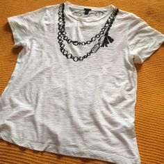 J. Crew Tee Shirt The lightest 100% cotton t-shirt!  J Crew has already complemented this white top with printed strands of gems! J. Crew Tops Tees - Short Sleeve